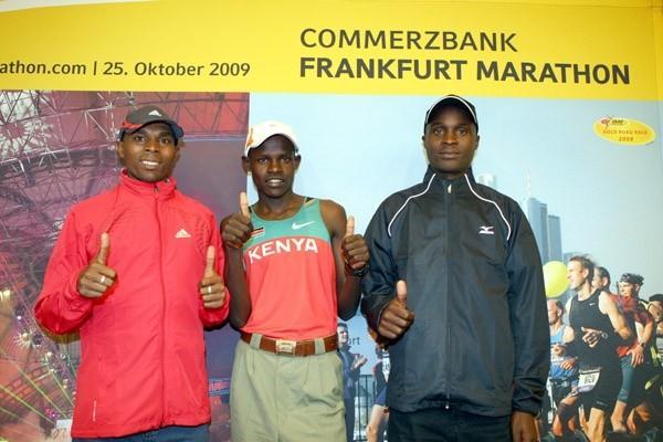 Jason Mbote, Robert Kiprono Cheruiyot and Gilbert Kirwa in Frankfurt (Victah Sailer)