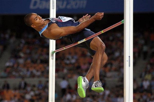 Ashton Eaton in action in the Decathlon's High Jump (Getty Images)
