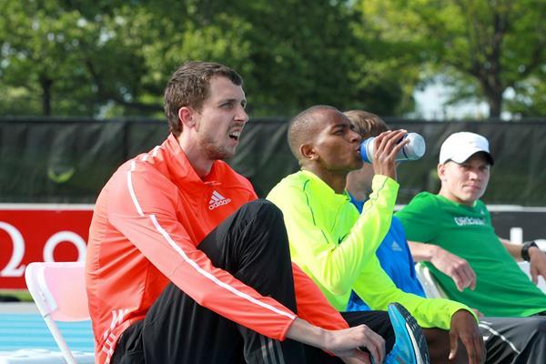 Bogdan Bondarenko and Mutaz Essa Barshim at the 2014 IAAF Diamond League meeting in New York (Victah Sailer)