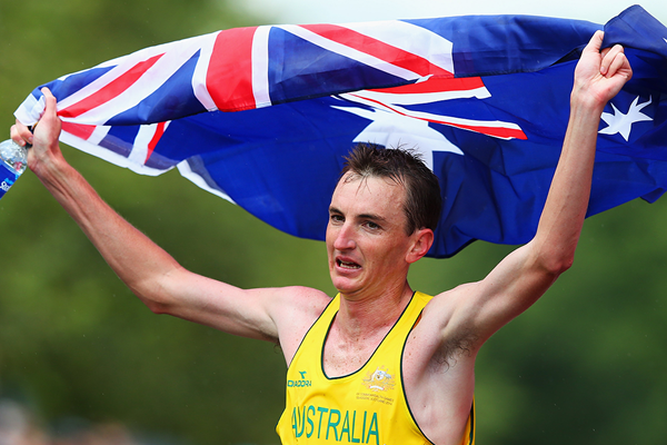 Australia's Michael Shelley after winning the marathon (Getty Images)