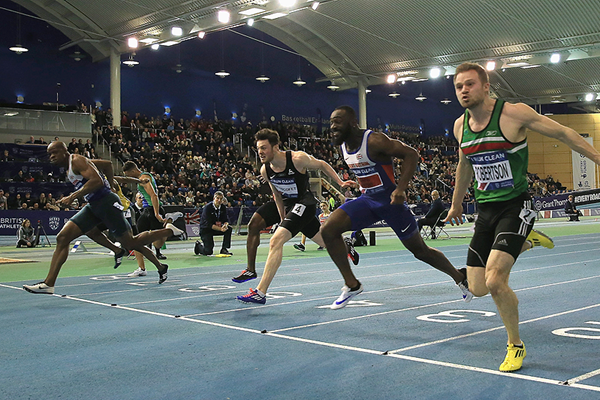 James Dasaolu (left) wins the British indoor 60m title (Getty Images)