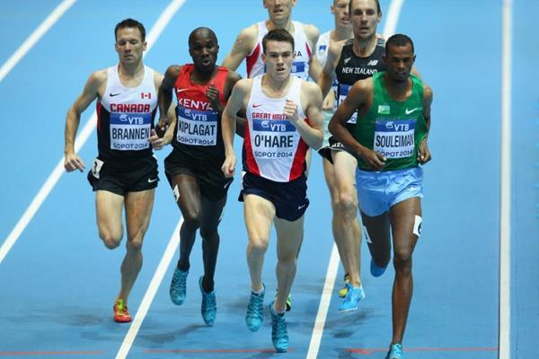 Ayanleh Souleiman leads his 1500m heat at the 2014 IAAF World Indoor Championships in Sopot (Getty Images)