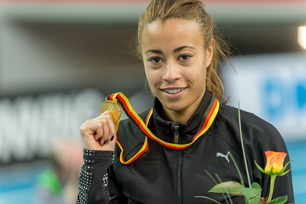 Tatjana Pinto after winning the German indoor 60m title (Getty Images)
