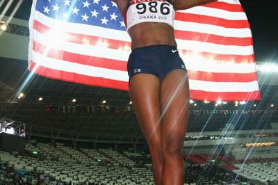 Michelle Perry of the US celebrates winning the 100m Hurdles gold medal (Getty Images)