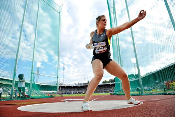 Sandra Perkovic in action in the discus in Stockholm (Deca Text & Bild)