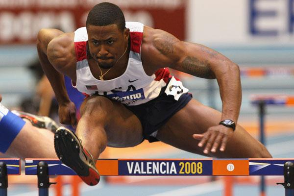David Oliver competes in the men's 60m hurdles (Getty Images)