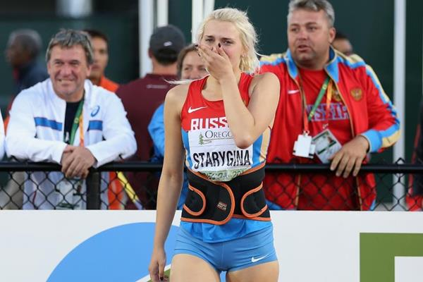 Javelin winner Ekaterina Starygina at the IAAF World Junior Championships, Oregon 2014 (Getty Images)