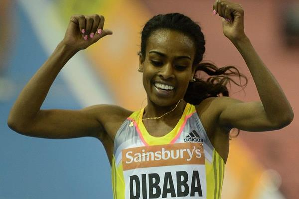Genzebe Dibaba breaking the two miles indoor world record at the 2014 Sainsbury's Indoor Grand Prix in Birmingham  (Getty Images)