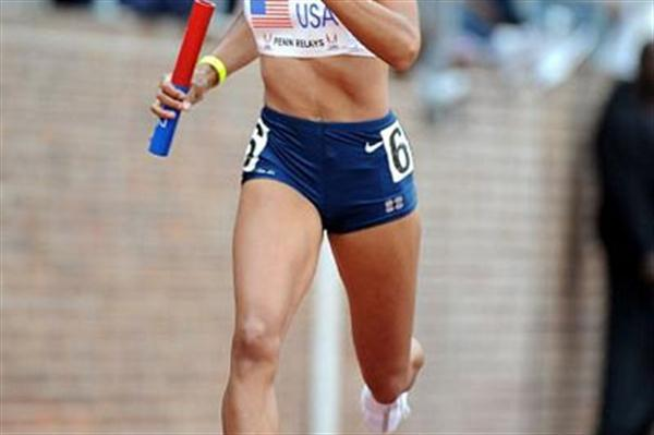 Allyson Felix at the 2008 Penn Relays (Kirby Lee)