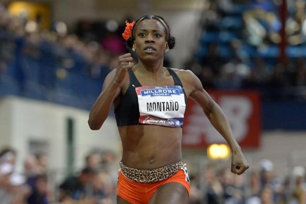 Alysia Montano winning the 600m at the 2013 Millrose Games (Kirby Lee)