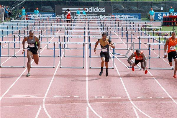 David Oliver, winner Jason Richardson, and Dwight Thomas in the New York hurdles showdown (Victah Sailer)