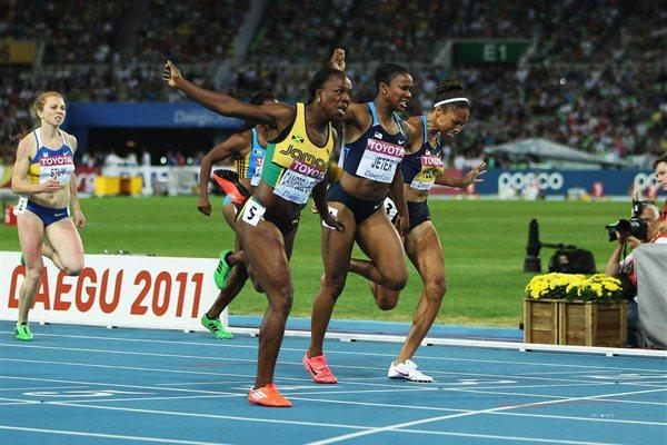 Veronica Campbell-Brown of Jamaica wins the women's 200 metres final ahead of Carmelita Jeter and Allyson Felix of the USA (Getty Images)