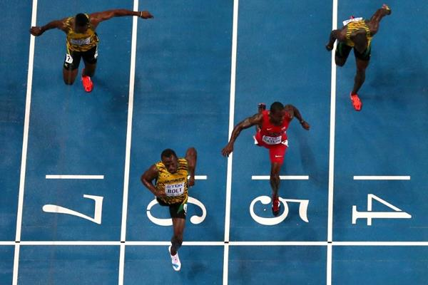 Action shot in the mens 100m Final at the IAAF World Championships Moscow 1013 (Getty Images)
