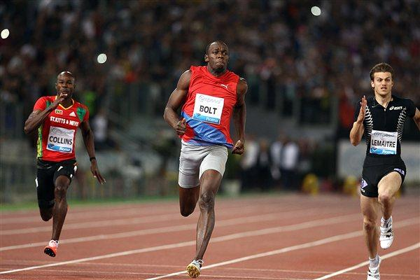 Usain Bolt at the 2012 Rome Samsung Diamond League meeting (Giancarlo Colombo)