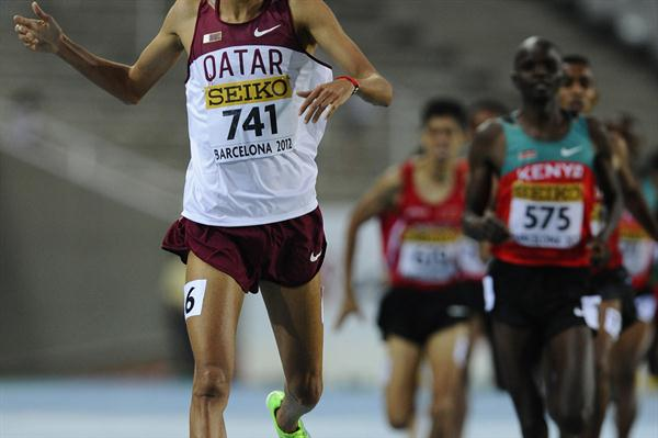 Hamza Driouch of Qater wins the Men's 1500 metres Final on the day three of the 14th IAAF World Junior Championships  in Barcelona on 12 July 2012 (Getty Images)
