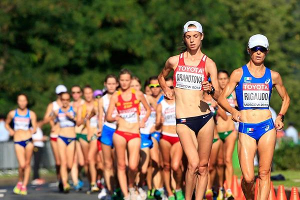 Anezka Drahotova leading the 2013 IAAF World Championships 20km Race Walk (Getty Images)