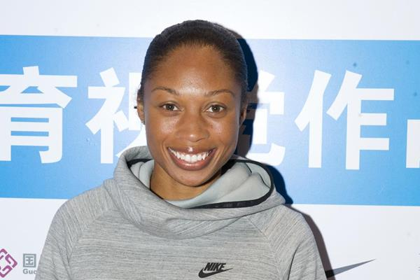 Allyson Felix in Shanghai ahead of the 2014 IAAF Diamond League meeting (Errol Anderson)