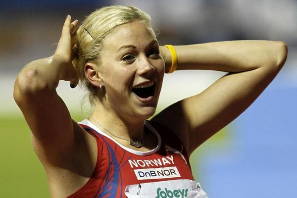 Norway's Isabelle Pederson celebrates her gold medal in the 100m Hurdles (Getty Images)