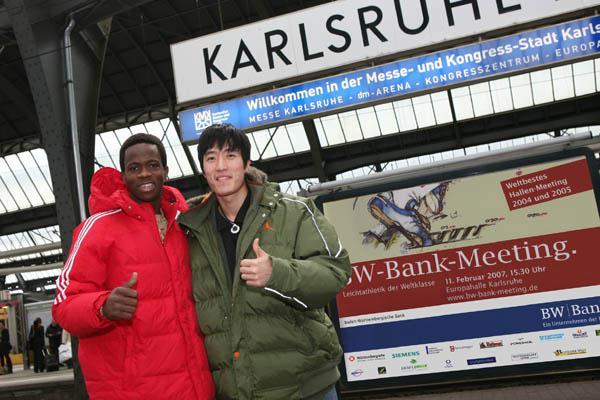 Dayron Robles and Liu Xiang in Karlsruhe (Kohler & Partner)