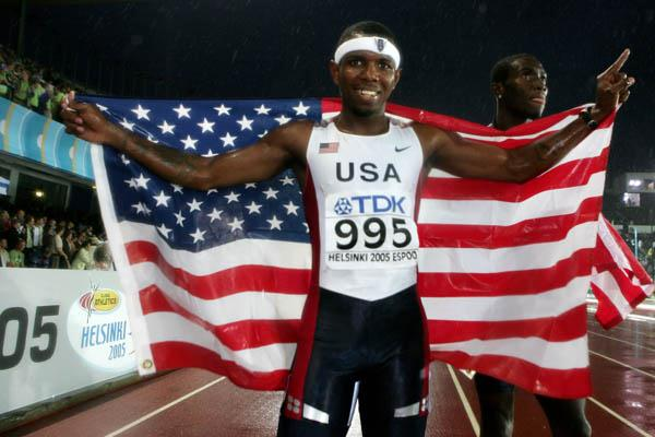 Bershawn Jackson of the US celebrates winning the men's 400m Hurdles (Getty Images)