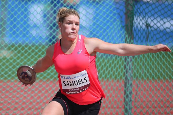 Discus winner Dani Samuels at the Australian Championships (Getty Images)