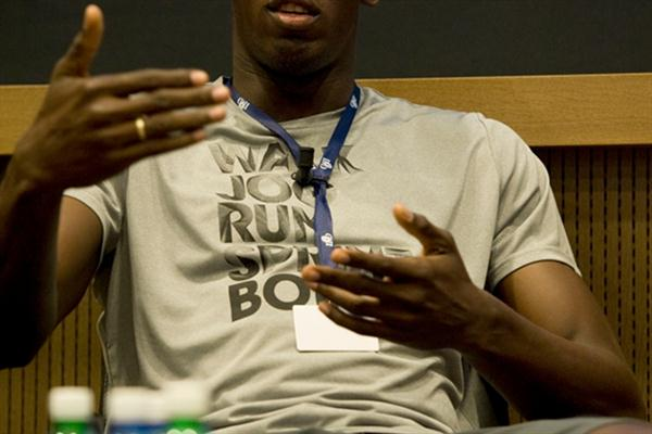 Back in familiar territory - Usain Bolt at the pre-meet press conference in Lausanne (Hans Sjogren)