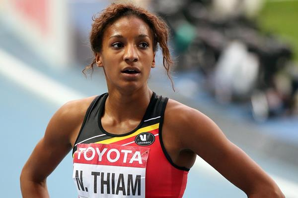 Nafi Thiam after running at Moscow 2013 ()