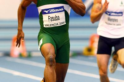 Olusoji Fasuba in the heats of the men's 60m (Getty Images)