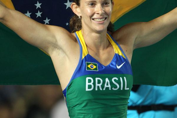 Fabiana Murer of Brazil celebrates victory in the women's pole vault final during day four  (Getty Images)