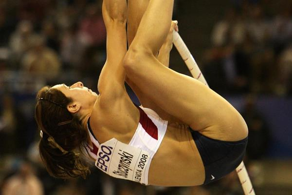 Jenn Suhr, winner of the silver medal in the women's pole vault in Valencia (Getty Images)