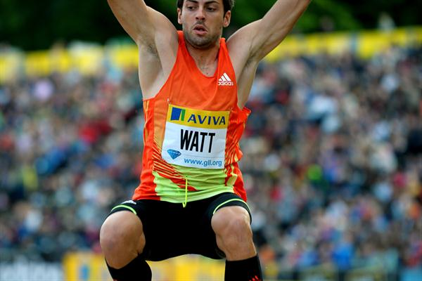 Mitchell Watt leaps to 8.28m in Crystal Palace (Mark Shearman)