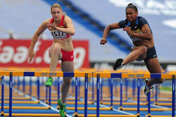 Trinity Wilson of the USA on her way to winning gold in the Girls' 100m Hurdles (Getty Images)