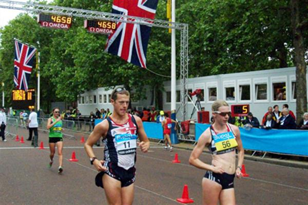 Johanna Jackson (56) testing the London Olympic Race Walk course on 30 May 2011 (Paul Warburton)