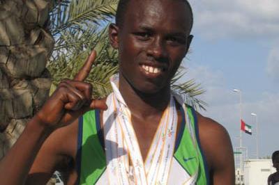 Sammy Wanjiru after his Half Marathon World Record in Ras al Khaimah (Pat Butcher)