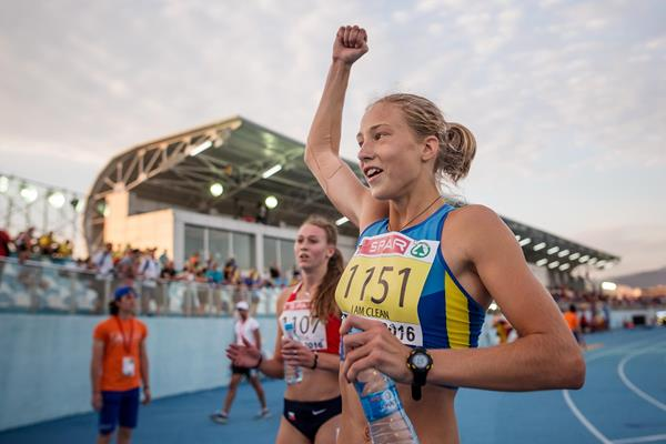 Alina Shukh after her heptathlon world youth best at the 2016 European Athletics Youth Championships (Getty Images)