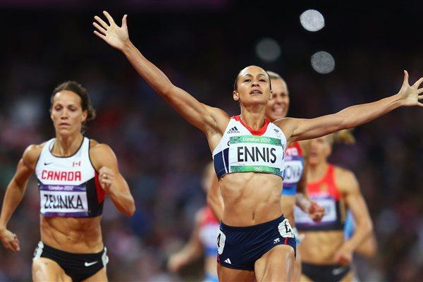Jessica Ennis of Great Britain crosses the line during the Women's Heptathlon 800m to win overall gold on Day 8 of the London 2012 Olympic Games on 4 August 2012 (Getty Images)