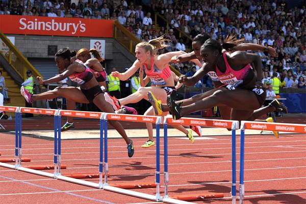 Dawn Harper-Nelson, winner of the 100m Hurdles at the Birmingham Diamond League (Mark Shearman)