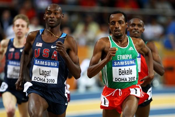 USA's Bernard Lagat and Ethiopia's Tariku Bekele compete in the 3,000m heat in Doha (Getty Images)