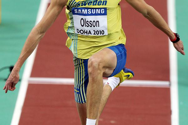 Christian Olsson of Sweden competes in the men's triple jump qualification in Doha (Getty Images)