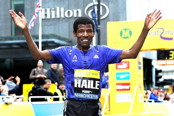 Haile Gebrselassie after finishing the 2015 Great Manchester Run (Mark Shearman)