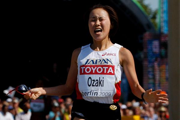 Yoshimi Ozaki of Japan crosses the finish line to take the silver medal in the women's Marathon at the IAAF World Championships in Berlin (Getty Images)