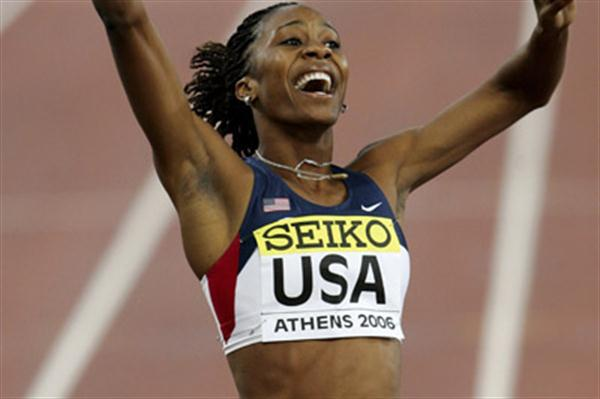 A jubilant Sanya Richards in Athens (Getty Images)