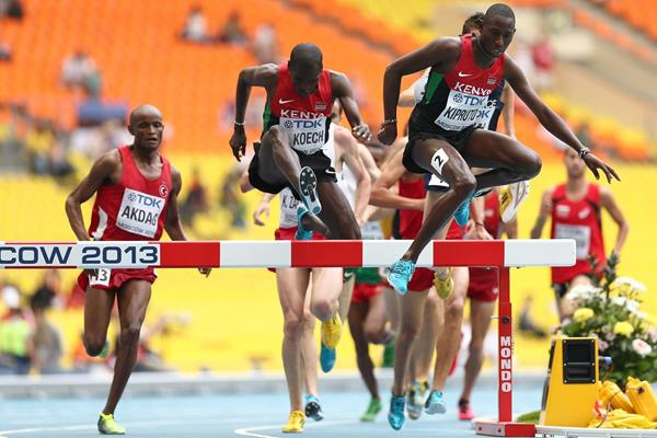 Conseslus Kipruto leads from Paul Kipsiele Koech in the 3000m Steeplechase heats at the 2013 IAAF World Championships in Moscow (Getty Images)