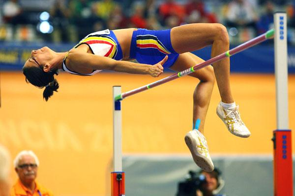 Belgium's Tia Hellebaut leapt a stunning 1.99m in the pentathlon high jump (Getty Images)