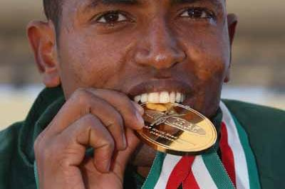 Zersenay Tadese of Eritrea celebrates his gold medal (Getty Images)
