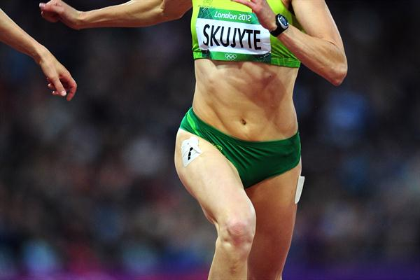 Austra Skujyte of Lithuania competes in the Women's Heptathlon 200m on Day 7 of the London 2012 Olympic Games at Olympic Stadium on August 3, 2012 (Getty Images)