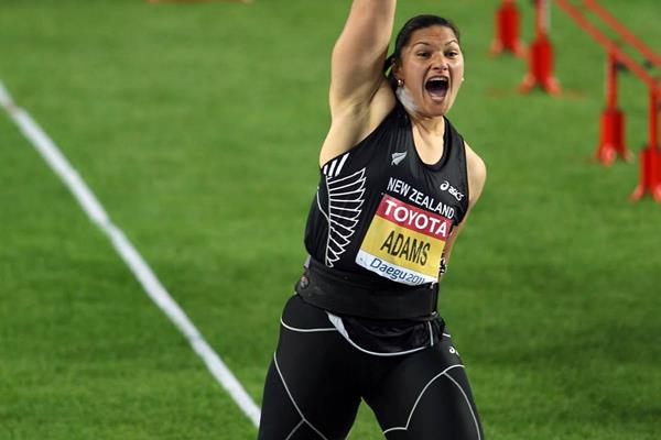 Valerie Adams celebrates setting a championship record of 21.24m to win gold in Daegu (Getty Images)
