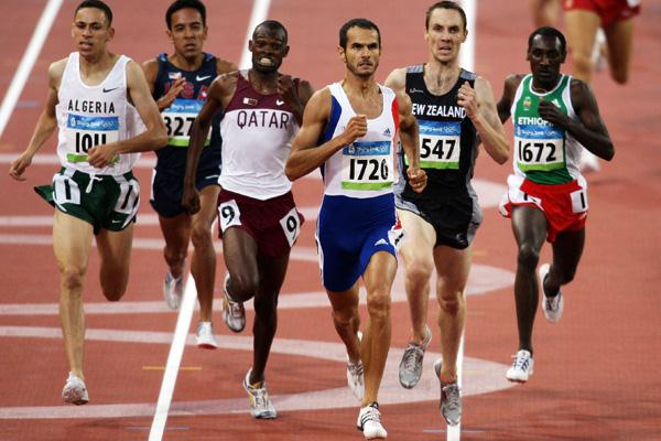 Mehdi Baala wins the first heat of the men's 1500m (Getty Images)