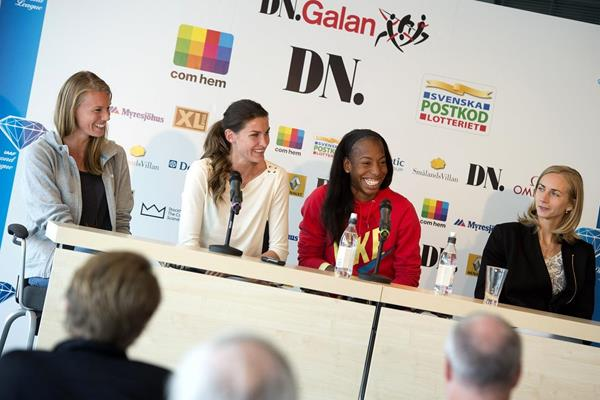 The women high jumpers at the pre-event press conference ahead of the 2013 IAAF Diamond League meeting in Stockholm (Anders and Hasse Sjogren)
