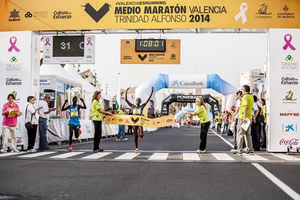 Emily Chebet winning at the 2014 Medio Maraton de Valencia  (organisers)